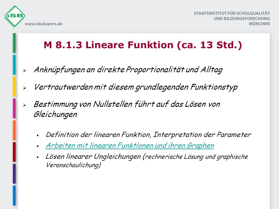 M 8.1.3 Lineare Funktion (ca. 13 Std.)