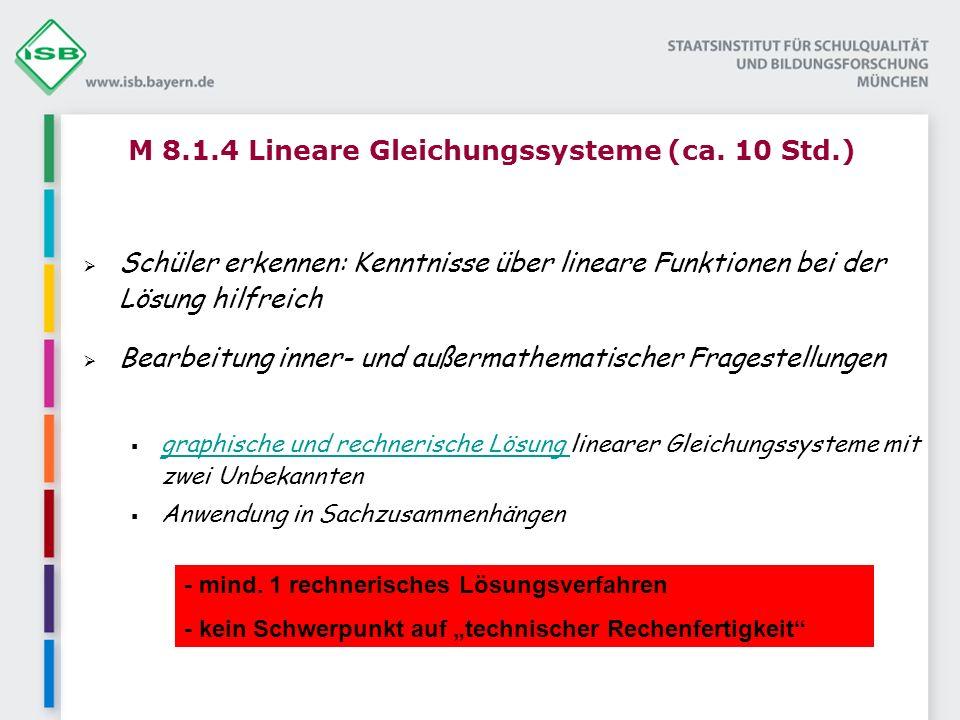 M 8.1.4 Lineare Gleichungssysteme (ca. 10 Std.)