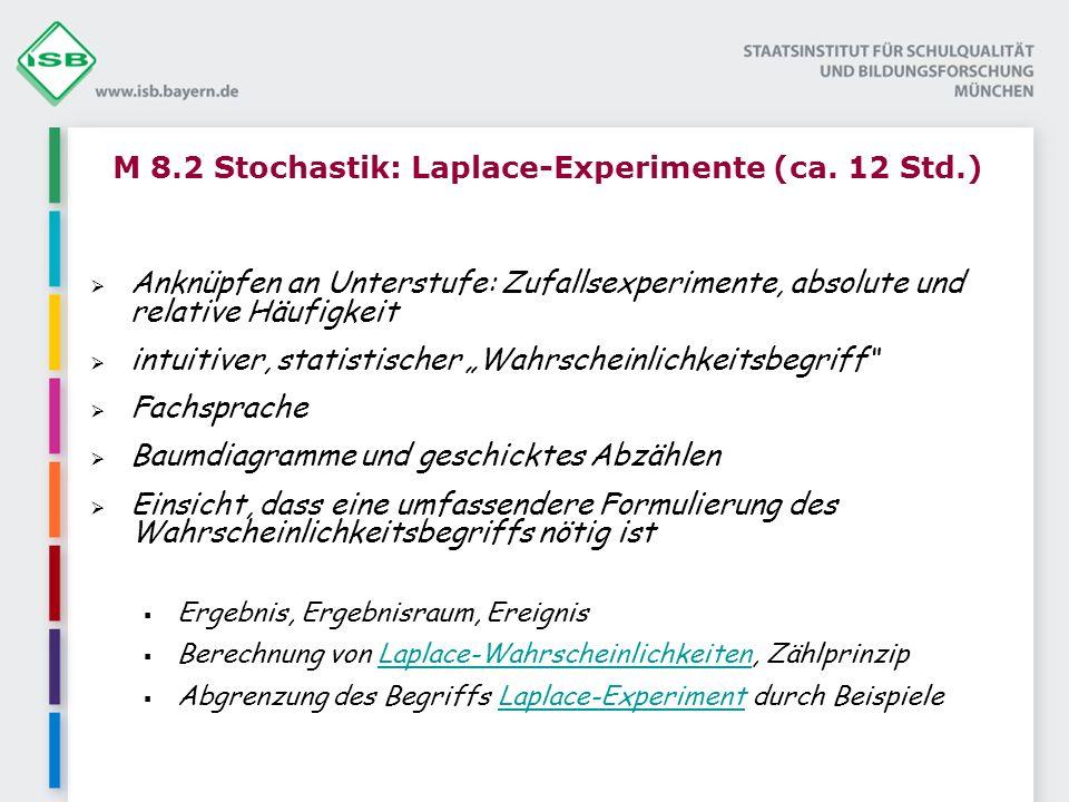 M 8.2 Stochastik: Laplace-Experimente (ca. 12 Std.)