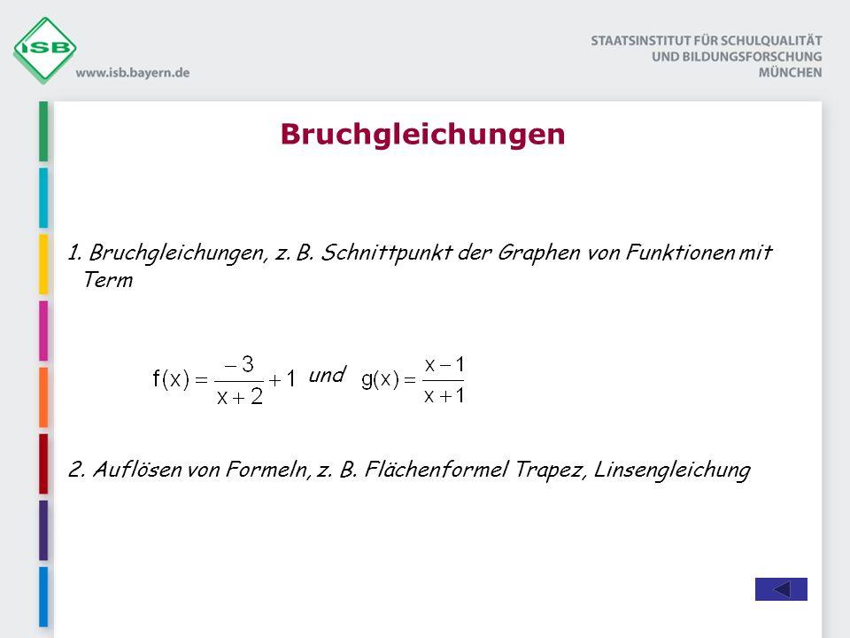 Bruchgleichungen 1. Bruchgleichungen, z. B. Schnittpunkt der Graphen von Funktionen mit Term. und.