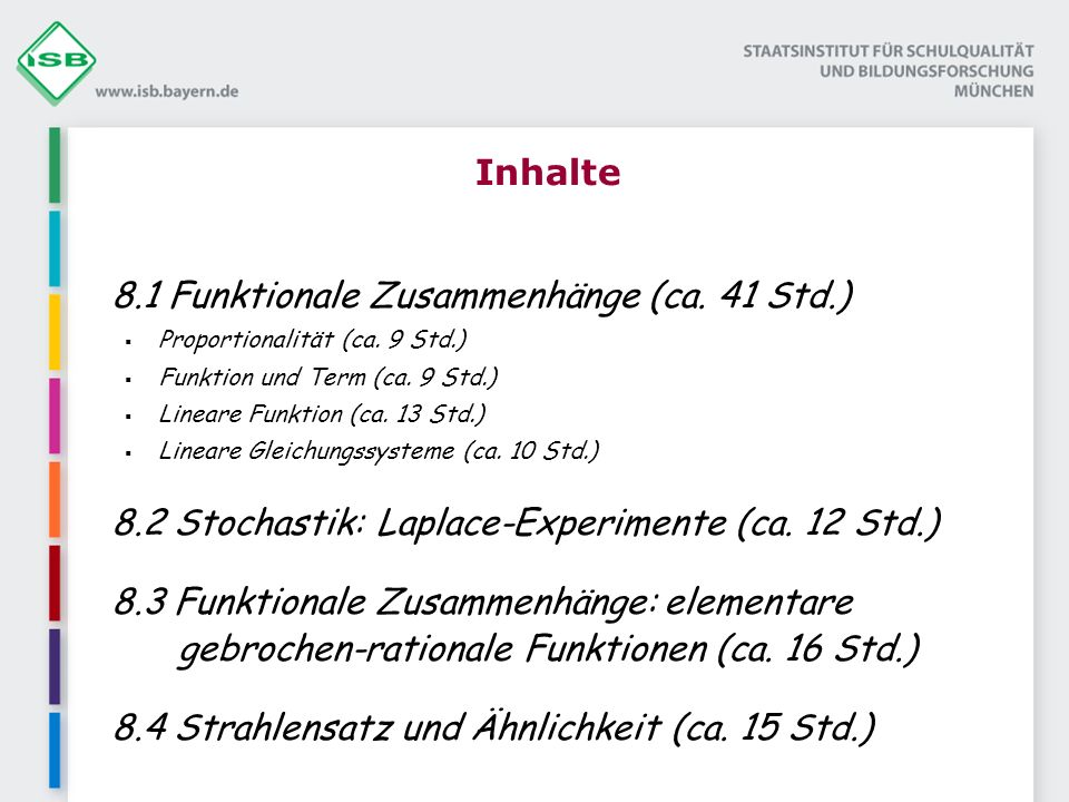 8.1 Funktionale Zusammenhänge (ca. 41 Std.)
