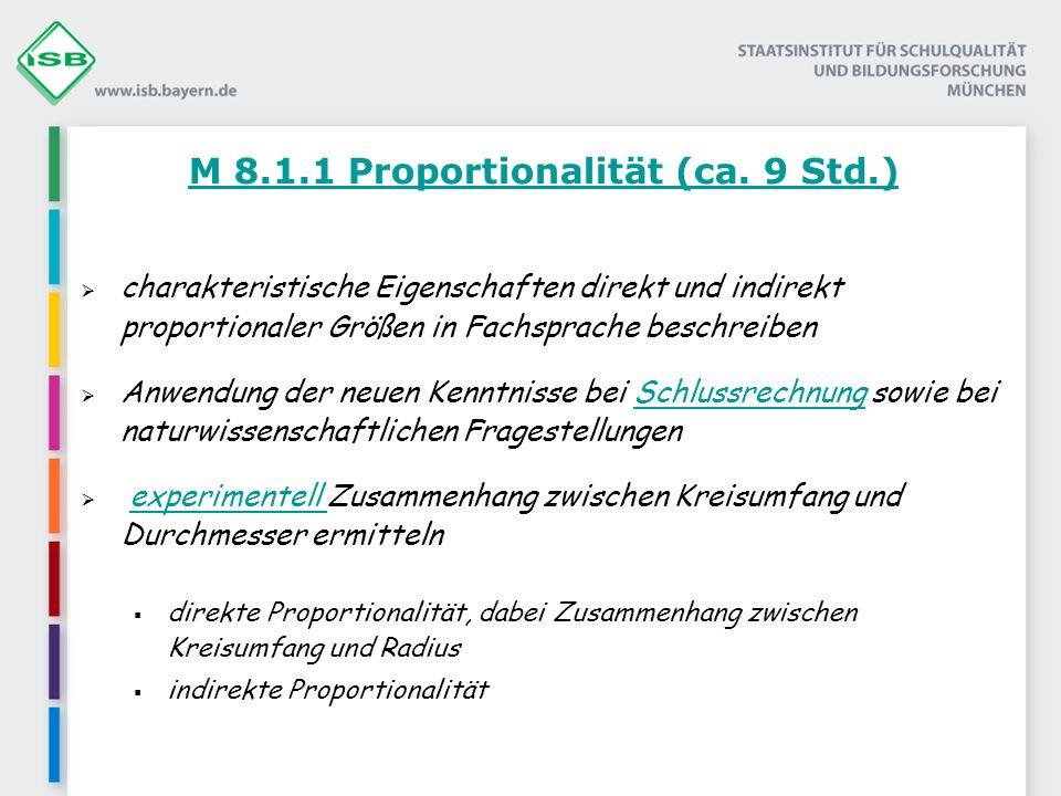M 8.1.1 Proportionalität (ca. 9 Std.)