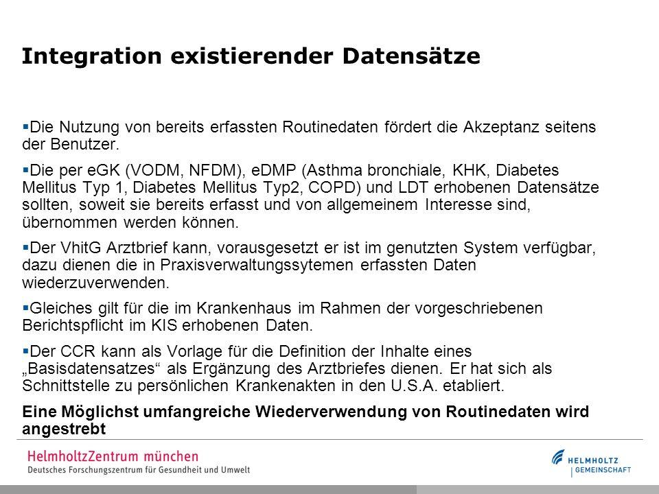Integration existierender Datensätze