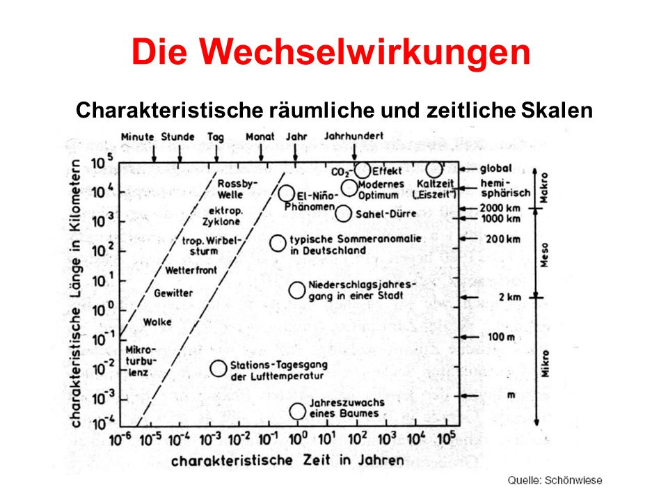 Die Wechselwirkungen Charakteristische räumliche und zeitliche Skalen