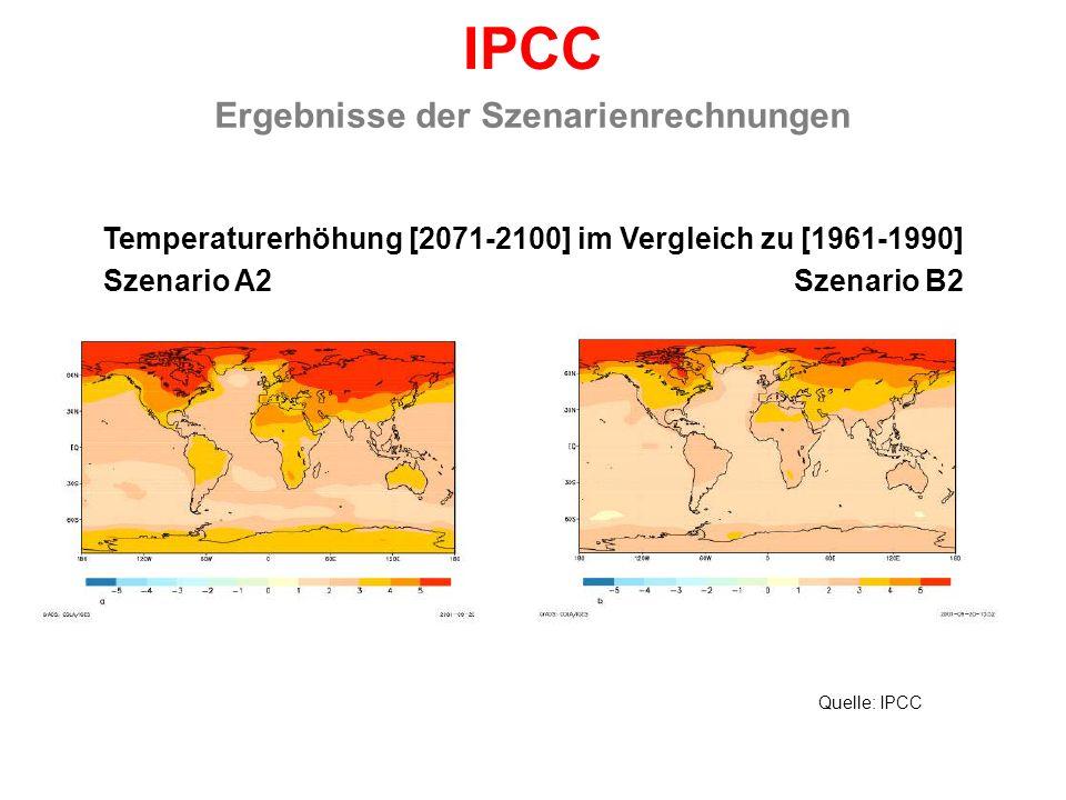 IPCC Ergebnisse der Szenarienrechnungen