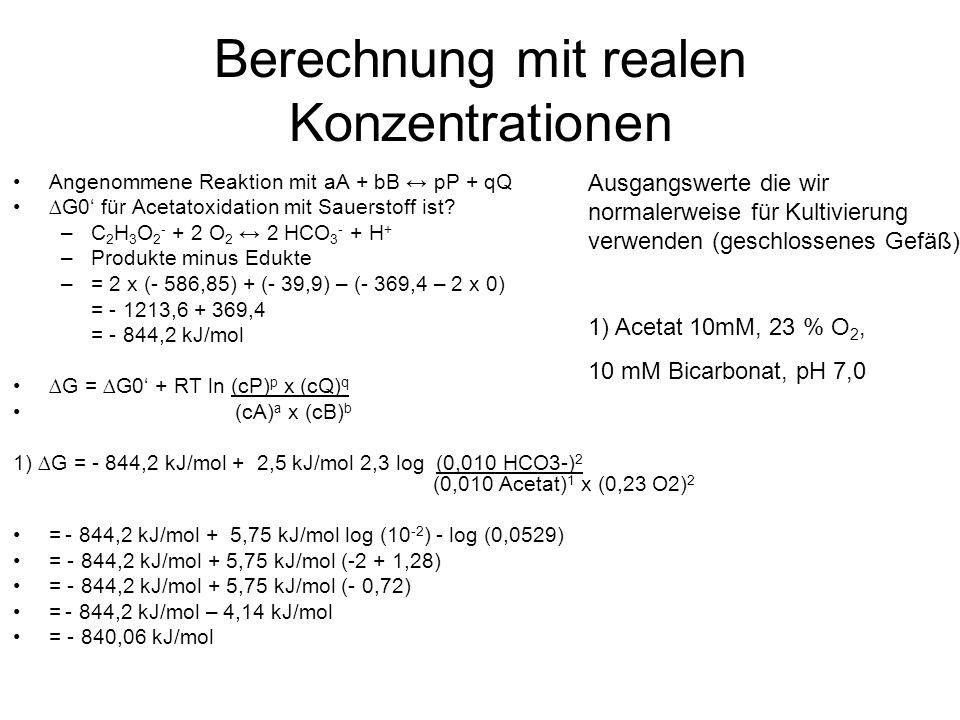 Berechnung mit realen Konzentrationen