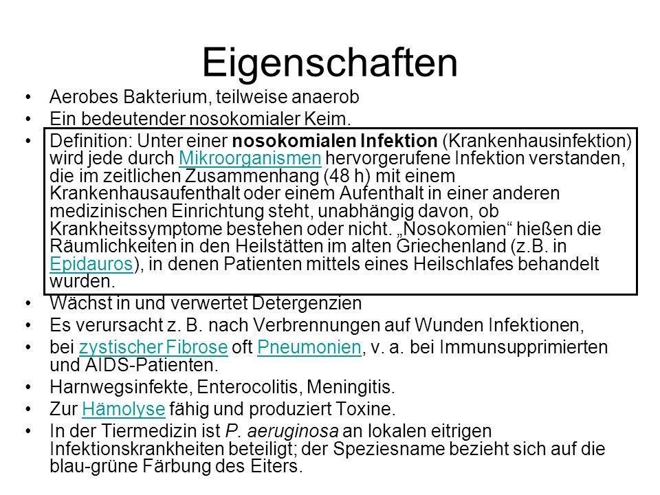 Eigenschaften Aerobes Bakterium, teilweise anaerob