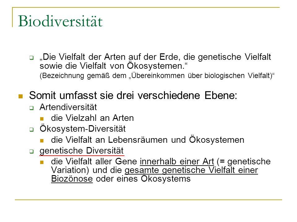 Biodiversität Somit umfasst sie drei verschiedene Ebene: