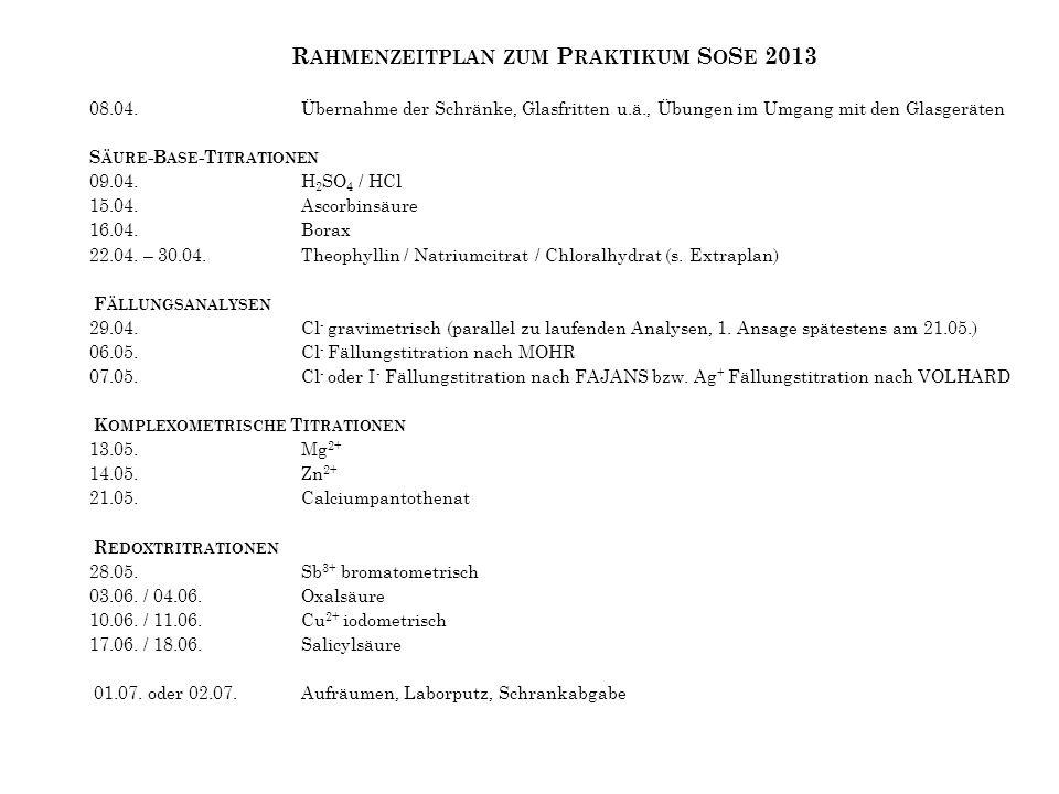 Rahmenzeitplan zum Praktikum SoSe 2013