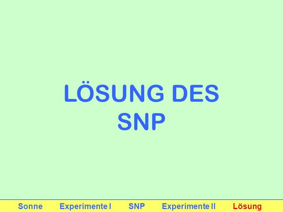 LÖSUNG DES SNP Sonne Experimente I SNP Experimente II Lösung