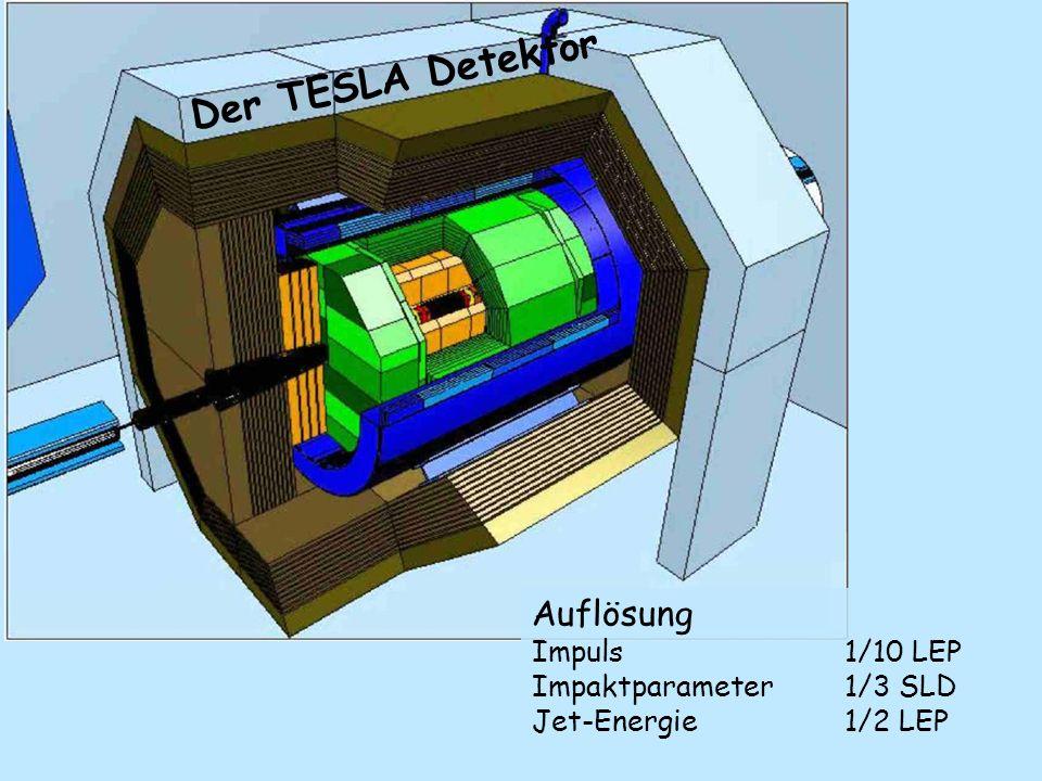 Der TESLA Detektor Auflösung Impuls 1/10 LEP Impaktparameter 1/3 SLD