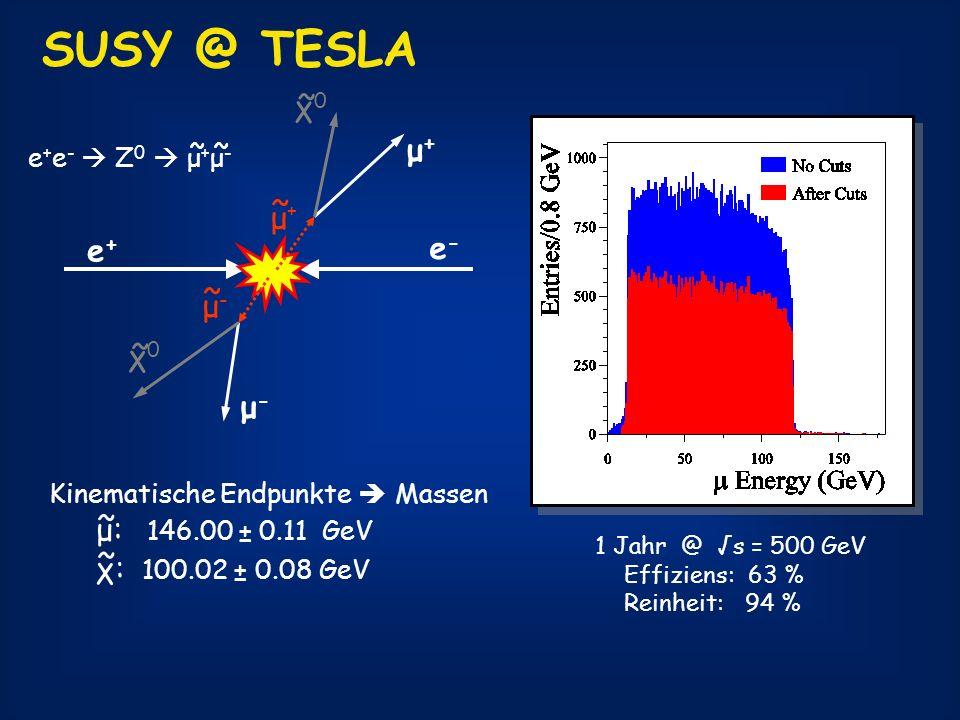 SUSY @ TESLA ~ χ0 μ+ ~ μ+ e+ e- ~ μ- ~ χ0 μ- μ: 146.00 ± 0.11 GeV ~