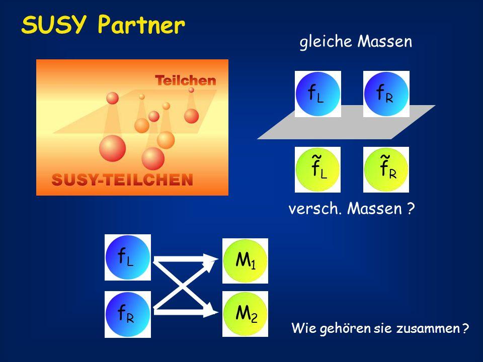 SUSY Partner fR fL fL ~ fR ~ fL fR M1 M2 gleiche Massen