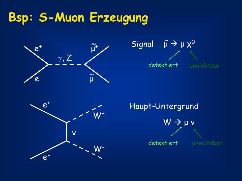 Bsp: S-Muon Erzeugung μ+ ~ e+ e- μ- , Z Signal μ  μ χ0 e+