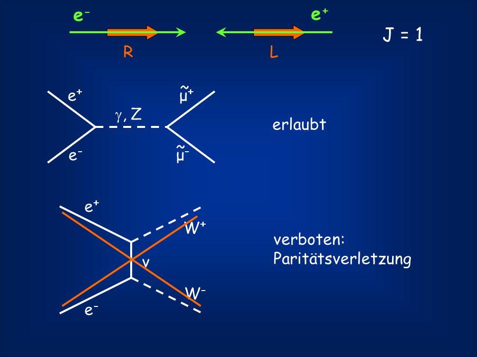 e- e+ J = 1 R L μ+ ~ e+ e- μ- , Z erlaubt e+ W+ verboten: