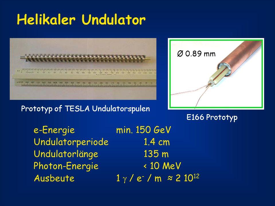 Helikaler Undulator e-Energie min. 150 GeV Undulatorperiode 1.4 cm