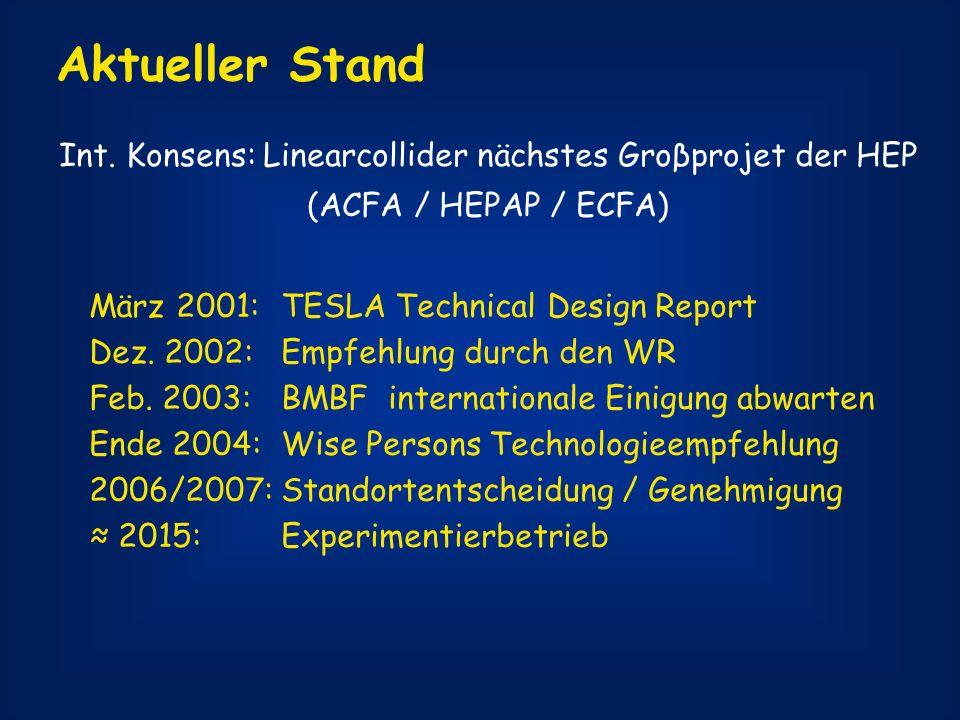 Int. Konsens: Linearcollider nächstes Groβprojet der HEP