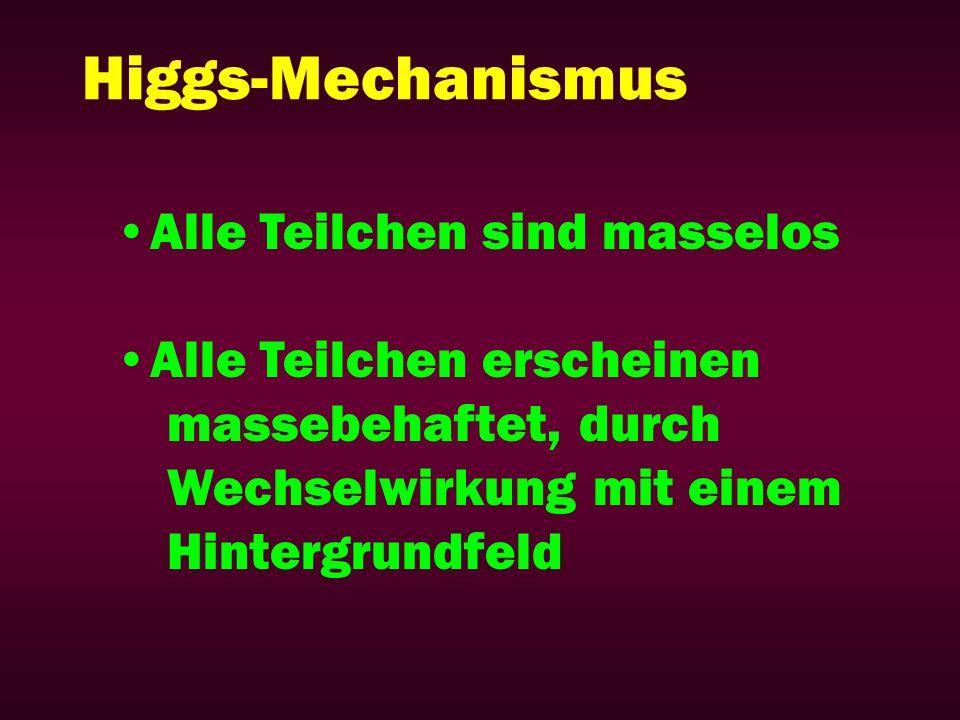 Higgs-Mechanismus Alle Teilchen sind masselos Alle Teilchen erscheinen
