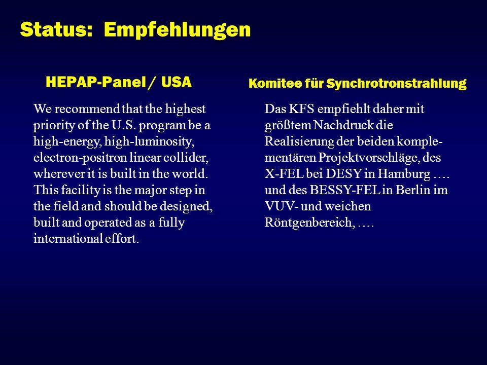 Status: Empfehlungen HEPAP-Panel / USA