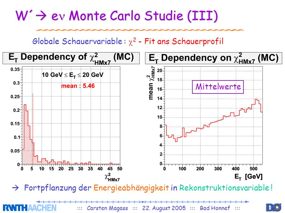 W´ en Monte Carlo Studie (III)