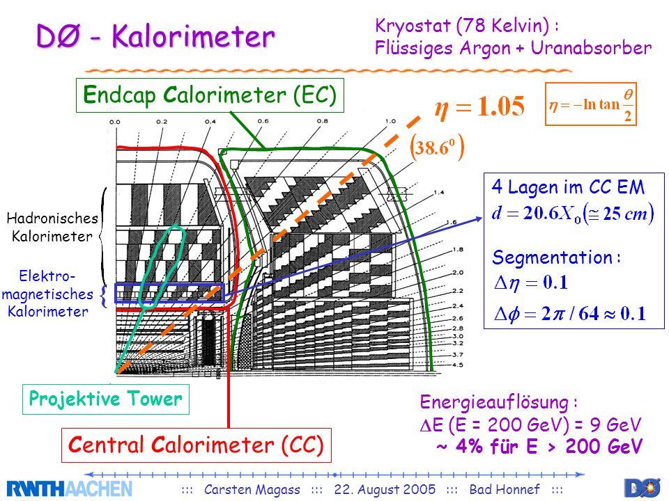 DØ - Kalorimeter Endcap Calorimeter (EC) Central Calorimeter (CC)