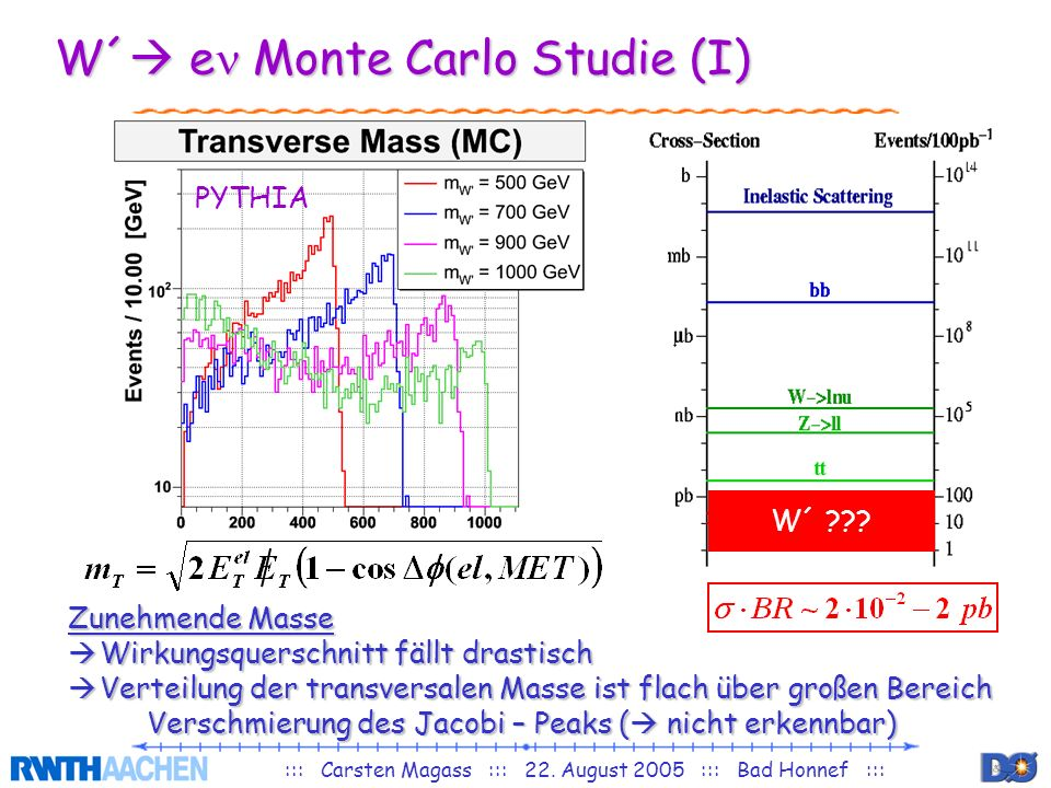 W´ en Monte Carlo Studie (I)