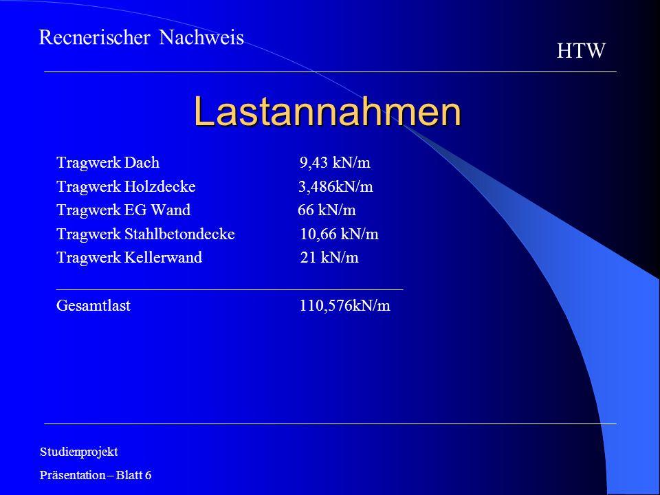 Lastannahmen Recnerischer Nachweis HTW Tragwerk Dach 9,43 kN/m
