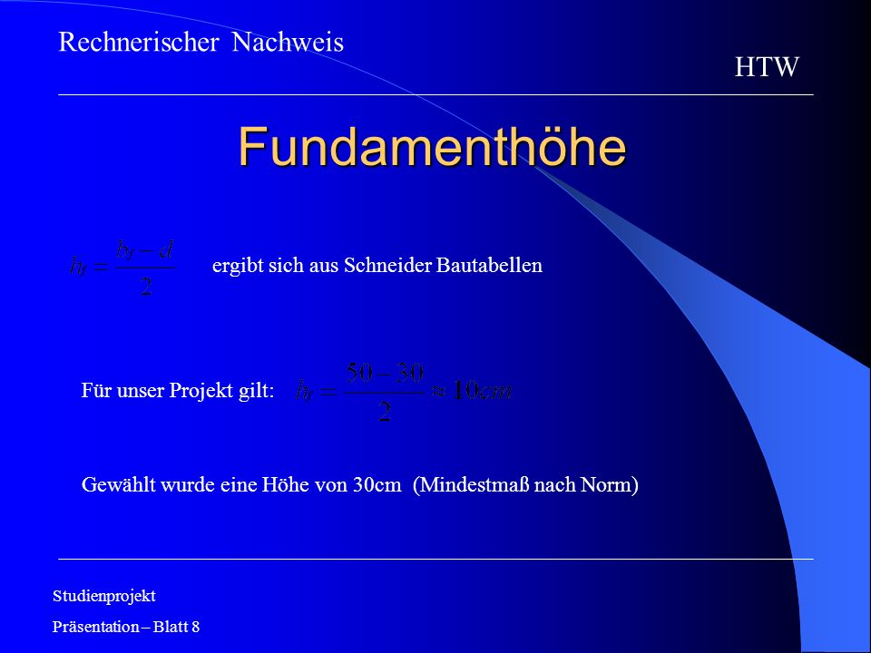 Fundamenthöhe Rechnerischer Nachweis HTW