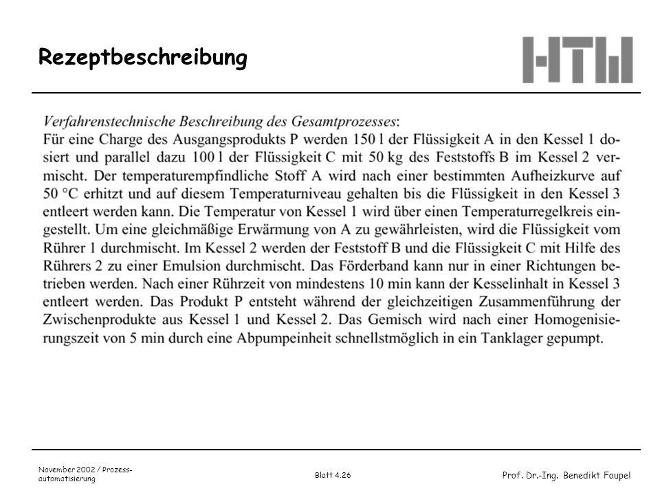 Rezeptbeschreibung November 2002 / Prozess-automatisierung Blatt 4.26