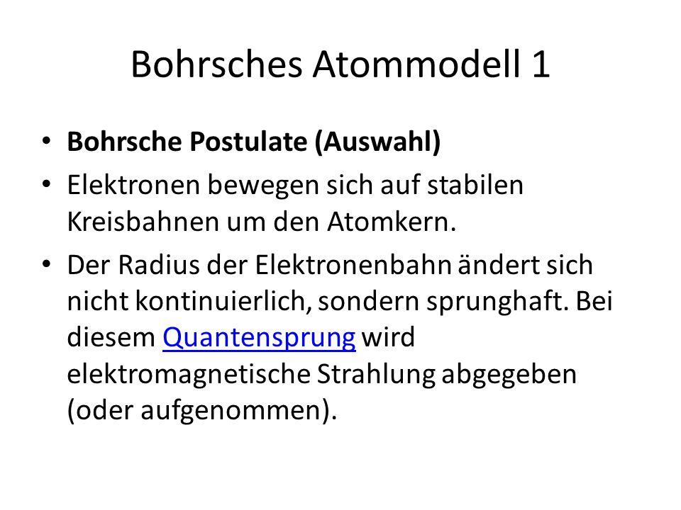 Bohrsches Atommodell 1 Bohrsche Postulate (Auswahl)