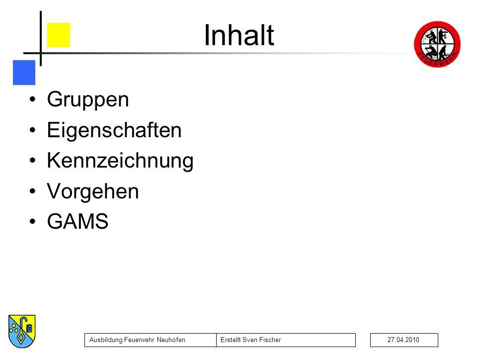 Inhalt Gruppen Eigenschaften Kennzeichnung Vorgehen GAMS