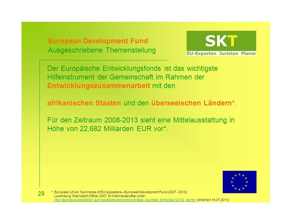 European Development Fund Ausgeschriebene Themenstellung
