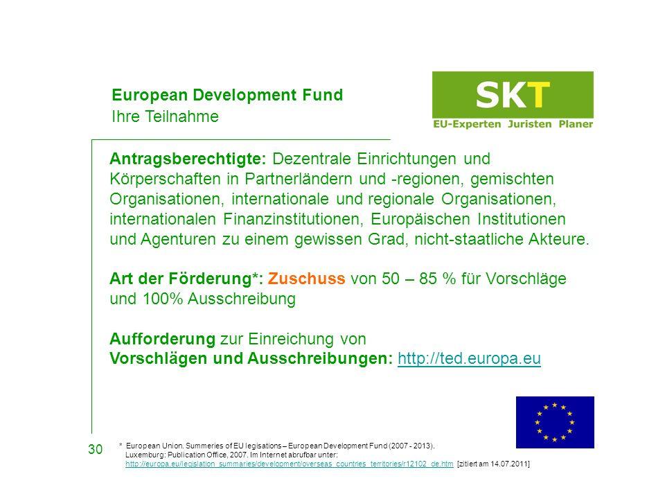 European Development Fund Ihre Teilnahme