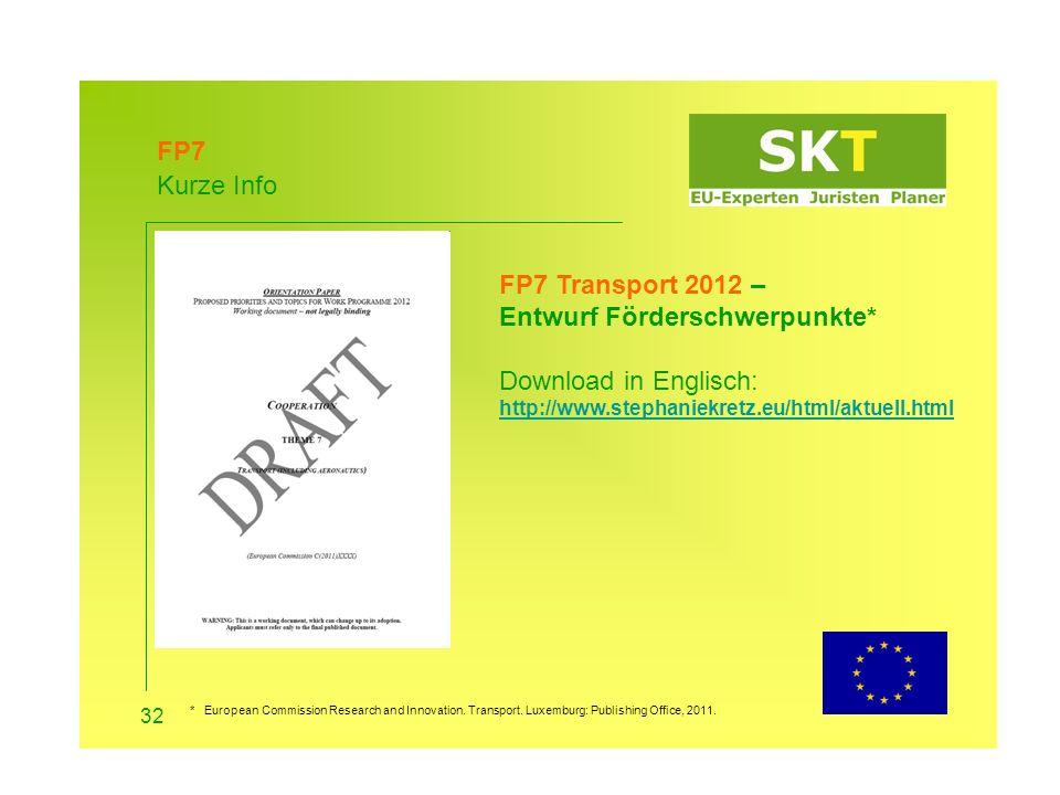 FP7 Kurze Info. FP7 Transport 2012 – Entwurf Förderschwerpunkte* Download in Englisch: http://www.stephaniekretz.eu/html/aktuell.html.