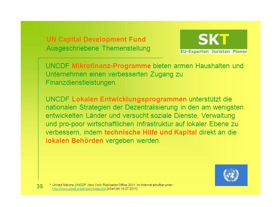 UN Capital Development Fund Ausgeschriebene Themenstellung