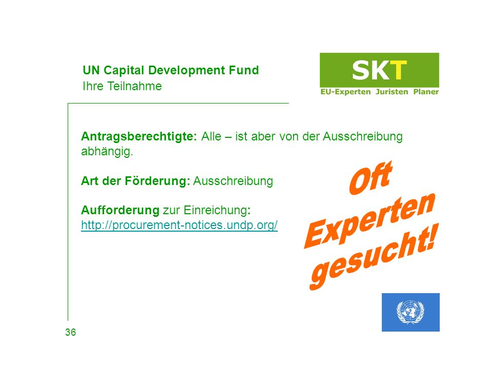 UN Capital Development Fund Ihre Teilnahme