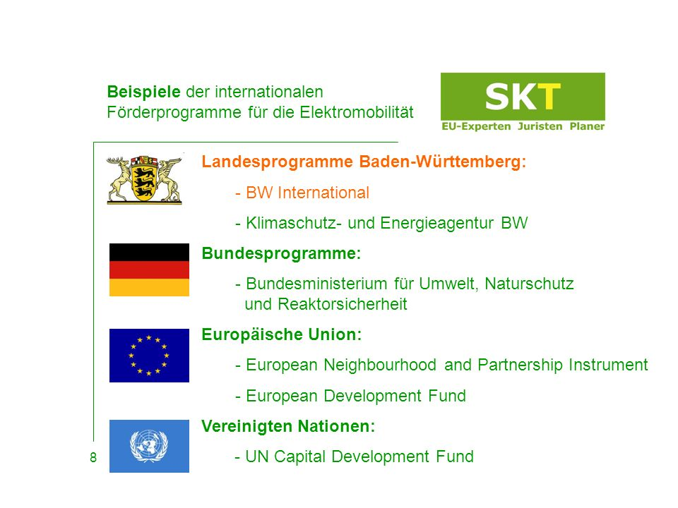 Beispiele der internationalen Förderprogramme für die Elektromobilität
