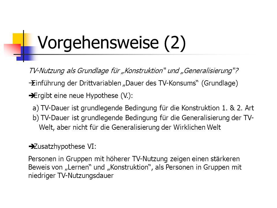 """Vorgehensweise (2) TV-Nutzung als Grundlage für """"Konstruktion und """"Generalisierung"""