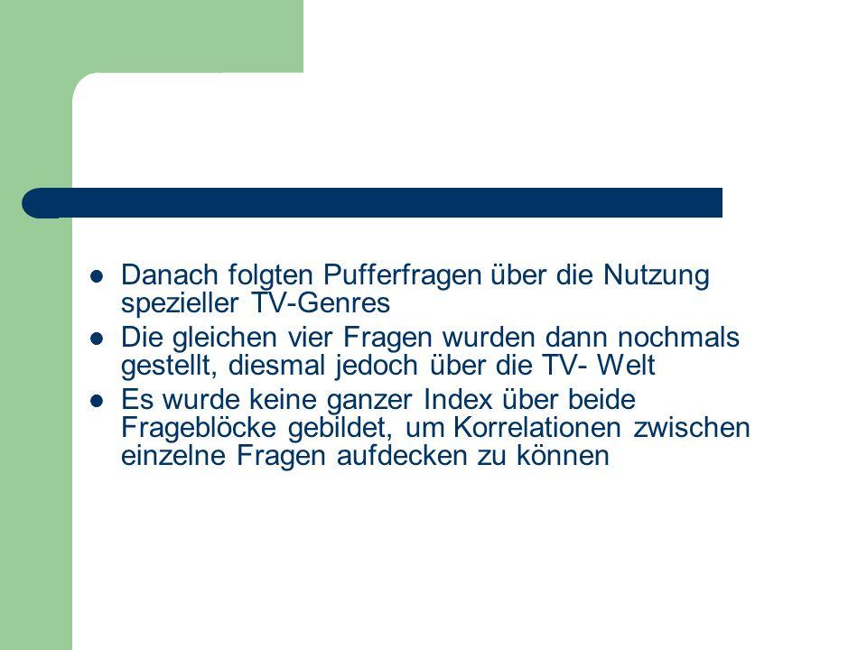 Danach folgten Pufferfragen über die Nutzung spezieller TV-Genres