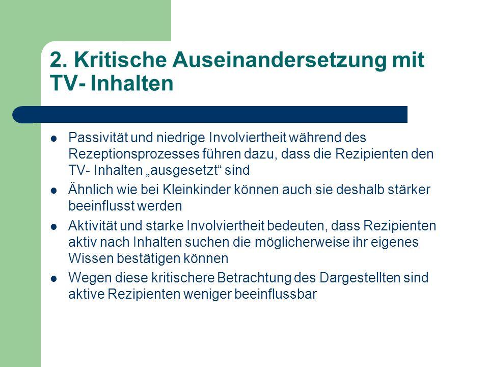2. Kritische Auseinandersetzung mit TV- Inhalten