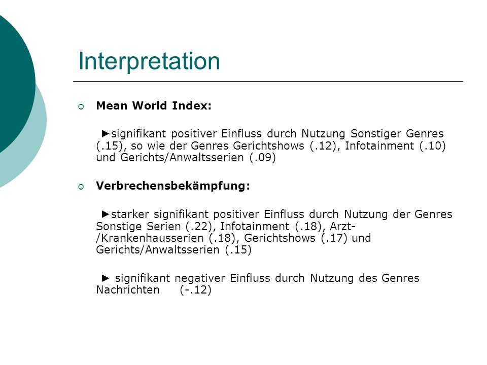 Interpretation Mean World Index: