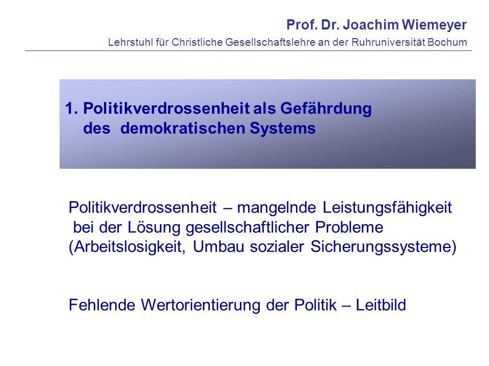 Politikverdrossenheit als Gefährdung des demokratischen Systems