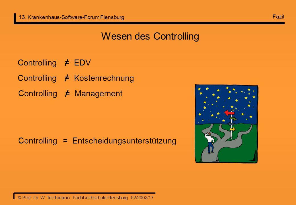 Wesen des Controlling Controlling = EDV Controlling = Kostenrechnung