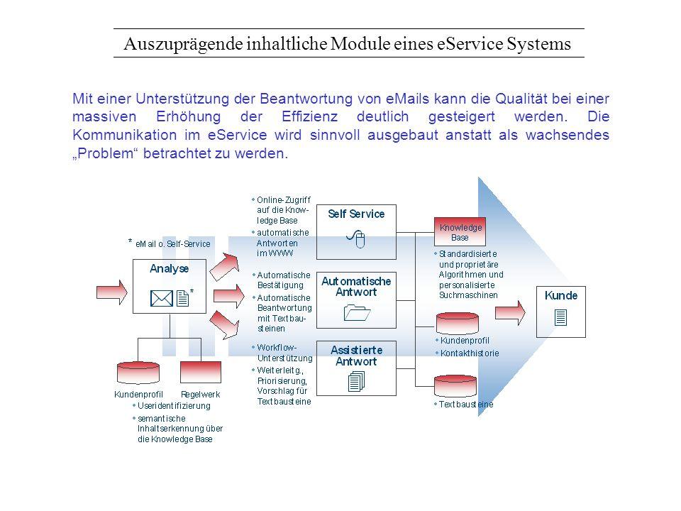 Auszuprägende inhaltliche Module eines eService Systems