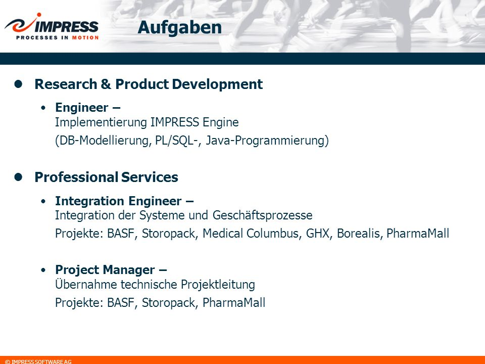 Aufgaben Research & Product Development Professional Services