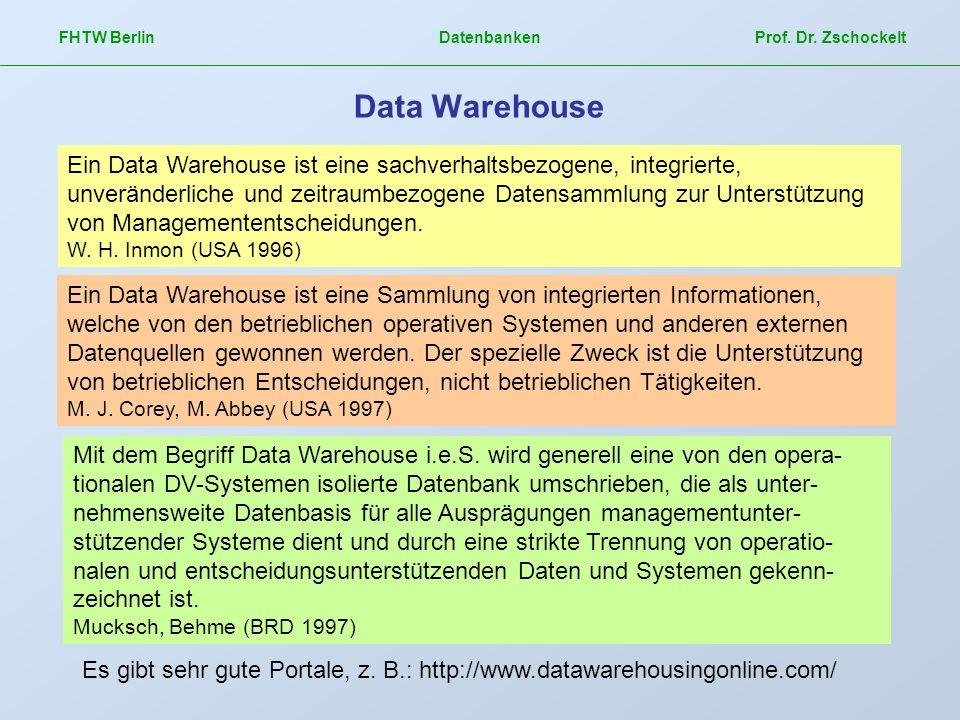 FHTW Berlin Datenbanken Prof. Dr. Zschockelt