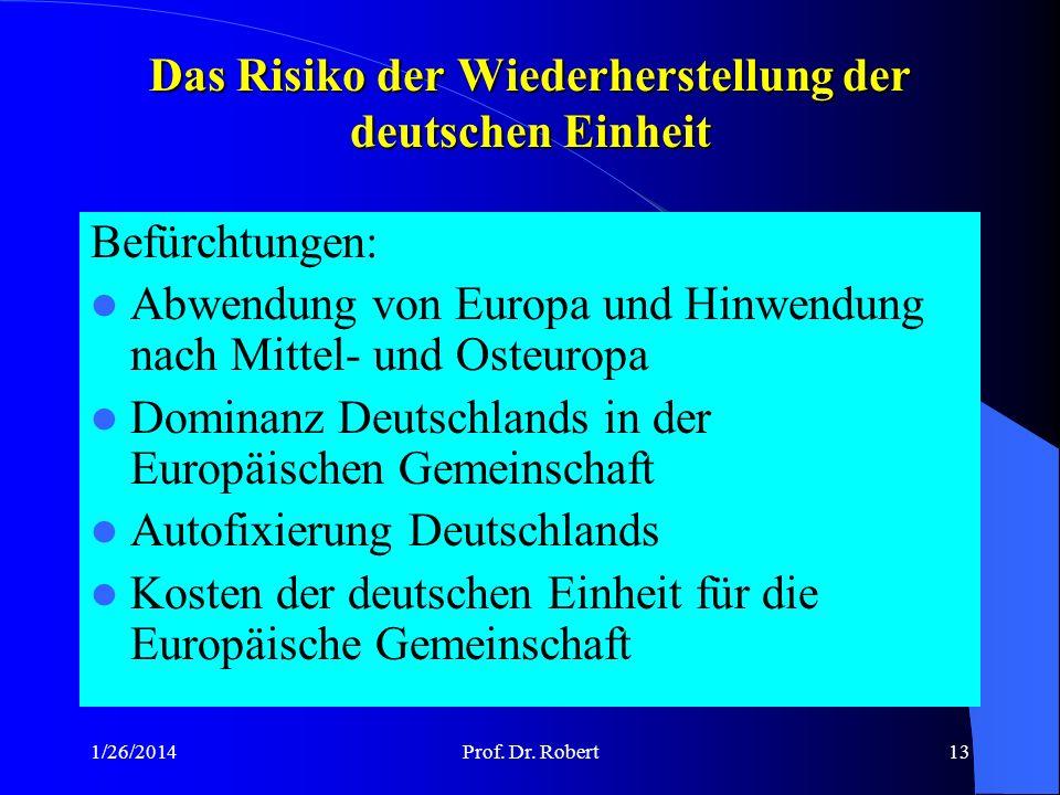 Das Risiko der Wiederherstellung der deutschen Einheit