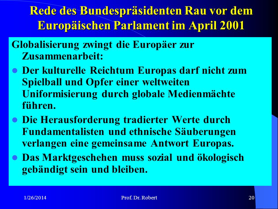 Rede des Bundespräsidenten Rau vor dem Europäischen Parlament im April 2001