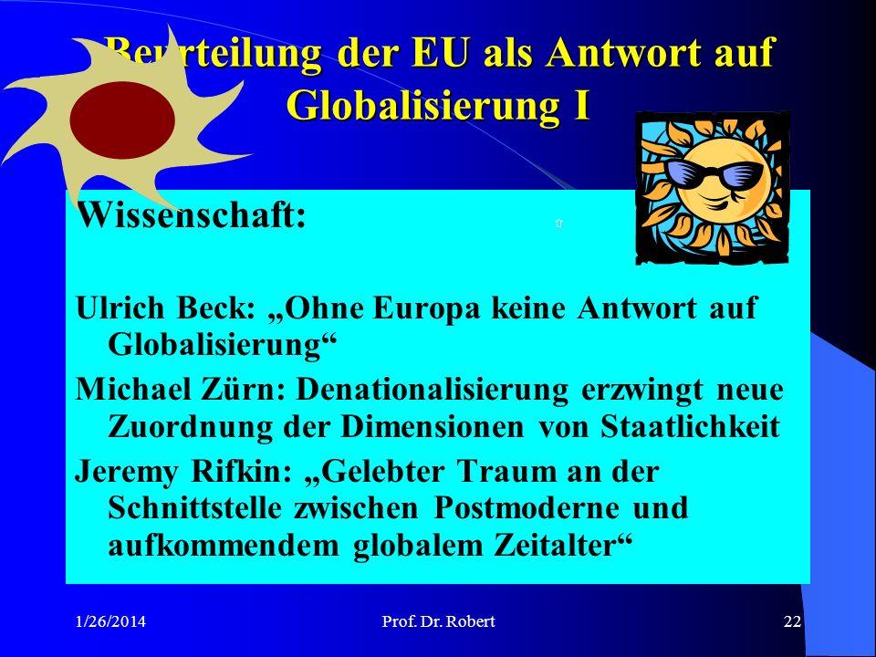Beurteilung der EU als Antwort auf Globalisierung I