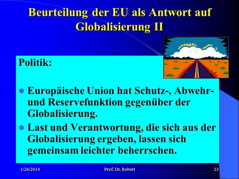 Beurteilung der EU als Antwort auf Globalisierung II